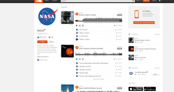 Die NASA auf Soundcloud (Screenshot)