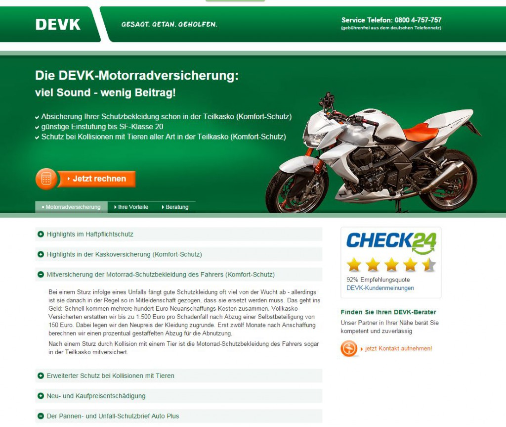 Screenshot DEVK-LAndingpage Motorradversicherung